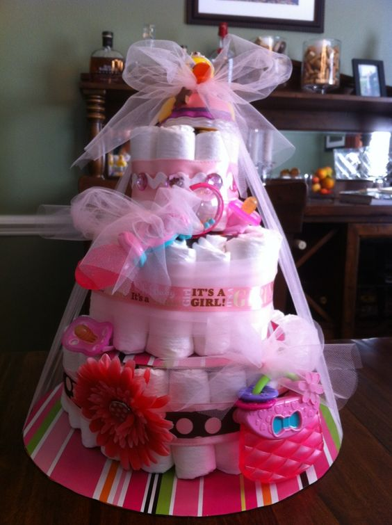 Diaper Cake for a Girl!