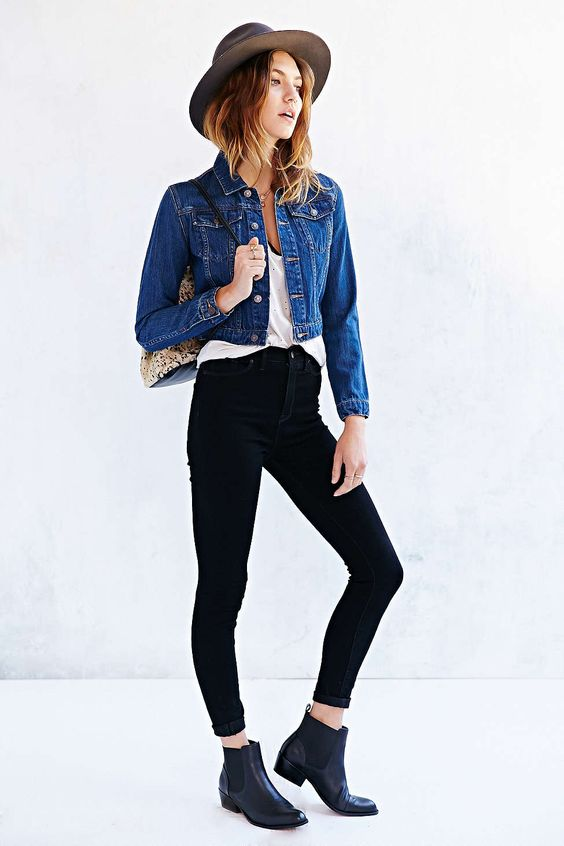 Simple Fall Look: Dark Jean Jacket with Black Jeans and White Shirt, styled with a Chelsea Boot: