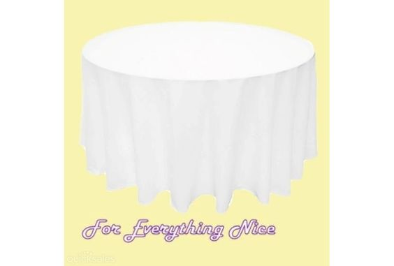 White Polyester Round Tablecloth Decorations 90 inches x 10