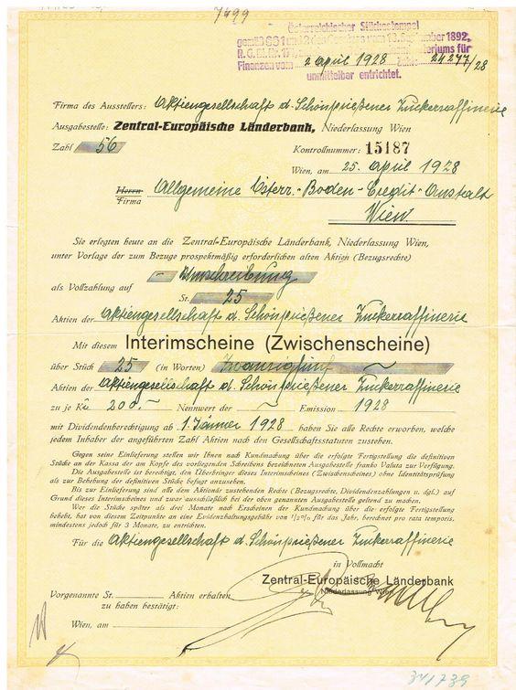 AZP3CZ005 Actiengesellschaft der Schönpriesener Zuckerraffinerie  Interimsschein  25x200 Kč Wien ( Vídeň ) 1928