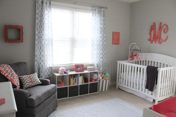 Gray and coral nursery with nautical inspiration