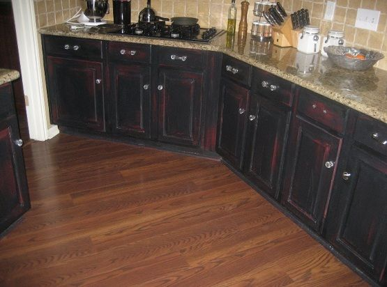 Red Cabinets With Black Glaze Cabinets Inspiration Distressed Black Kitchen Cabinets