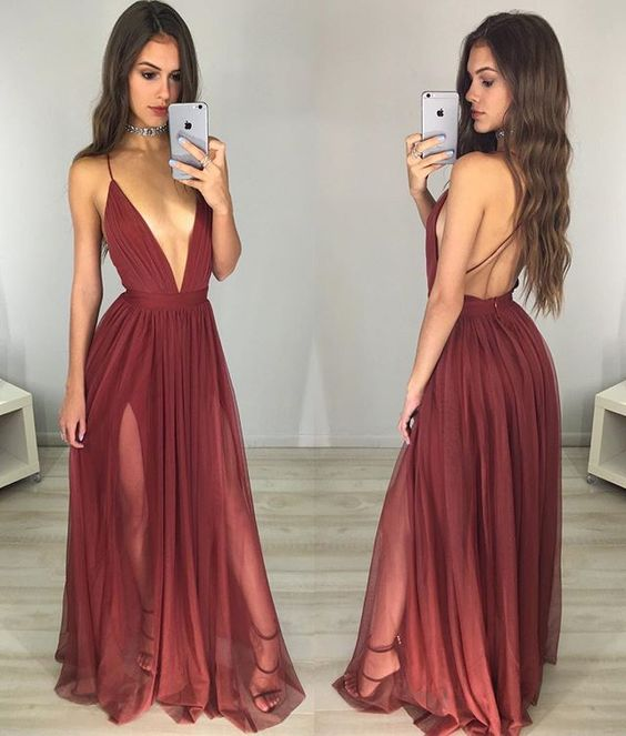 Red Prom Dress,Sexy V-neck Backless Long Prom Dresses,Simple