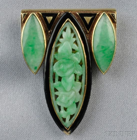 Art Deco 14kt Gold, Enamel, and Carved Jade Dress Clip, set with three marquise-shaped jades, one carved and pierced to depict foliate motifs, black enamel accents, lg. 1 1/2 in., (enamel loss).