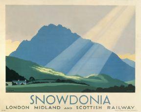 Snowdonia, Wales, Welsh Railway Art Travel Poster Print by London Midland and Scottish Railways