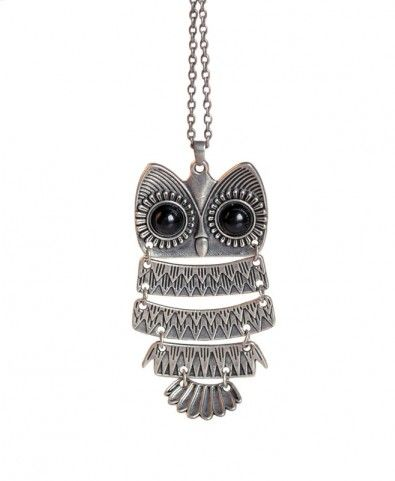Layered Owl Pendant Necklace