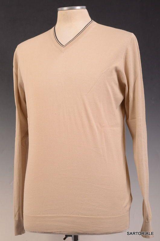KITON Napoli Beige Cotton V-Neck Sweater EU 50 NEW US M