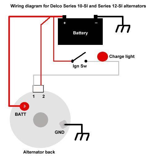 One Wire Delco Alternator Wiring Diagram In 2020 Alternator Car Alternator Delco