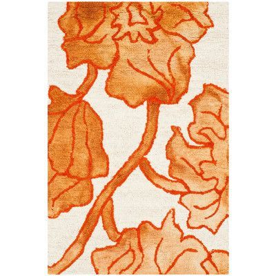 Andover Mills Millie Hand-Tufted Ivory/Orange Area Rug Rug Size: