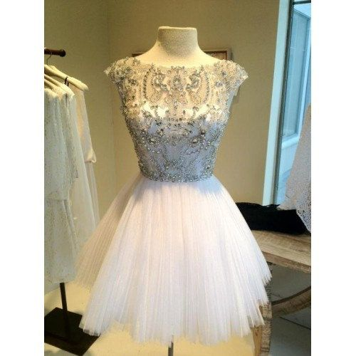 Short White Bead Tulle Prom Dress Custom Dress Straps Knee-length Formal Dress Homecoming Dress Party Dress 2014