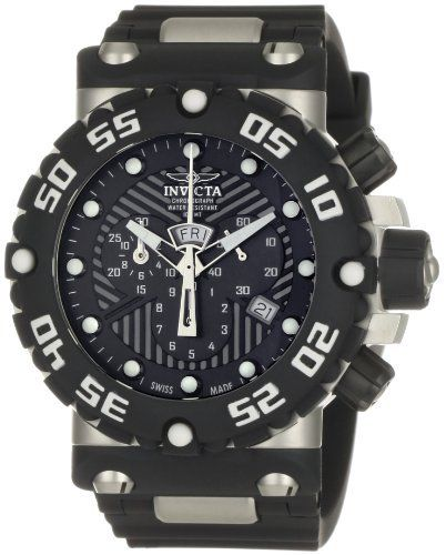 Invicta Men's 0653 Subaqua Collection Nitro Chronograph Black Polyurethane Watch Invicta. $269.00. Durable flame-fusion crystal; brushed stainless steel case; black polyurethane strap. Black textured dial with silver-tone hands and dot hour markers; luminous; black polyurethane unidirectional bezel with white arabic numerals and screw-down crown and pushers. Precise Swiss-quartz movement. Water-resistant to 330 feet (100 M). Chronograph functions with 60 second, 30 minute and 1...