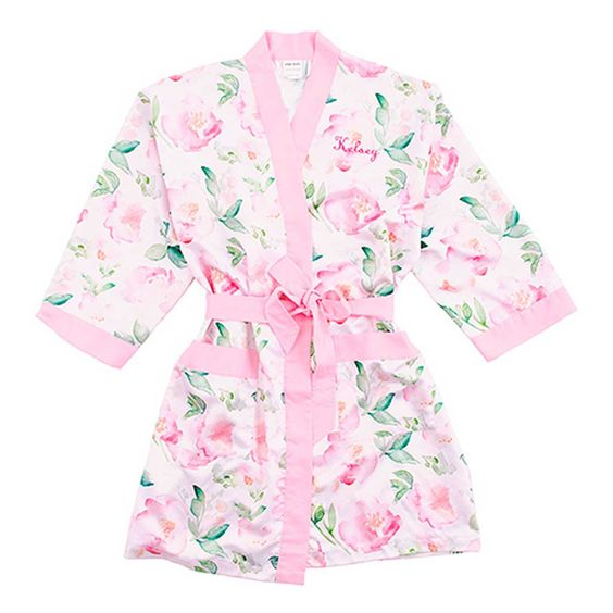 Watercolor Floral Silky Kimono Robe in Pink on White