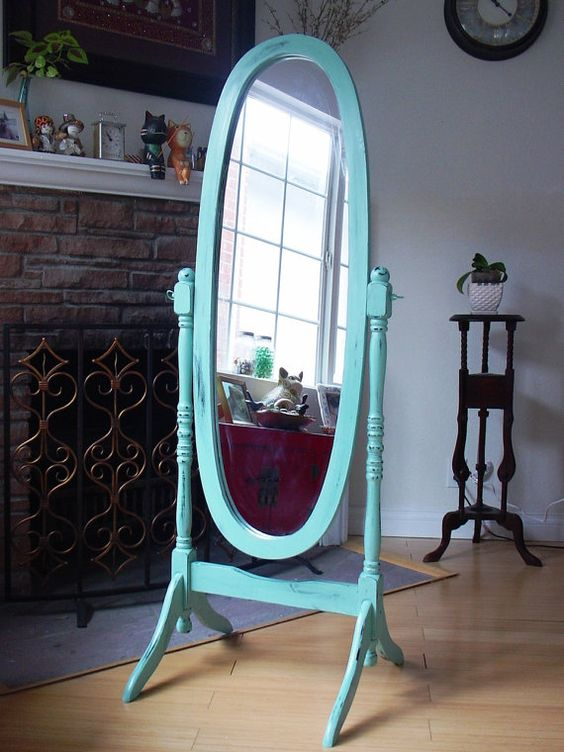 Hand Painted Duck Egg Blue Cheval Oval Mirror Full Body Length Wood Floor Standing