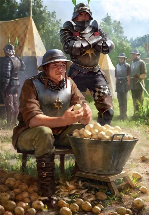 Corporal Medhold had small problem. He vomited on to shoes of the Baron. No worries, it's only peeling potatoes for the next three years.
