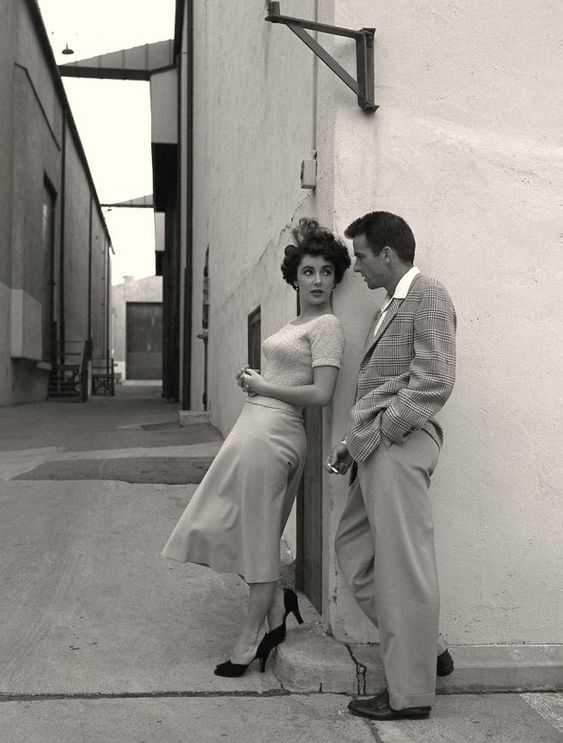 Elizabeth Taylor y Montgomery Clift en 1951, durante el rodaje de Un lugar en el sol (A Place in the Sun) de George Stevens.
