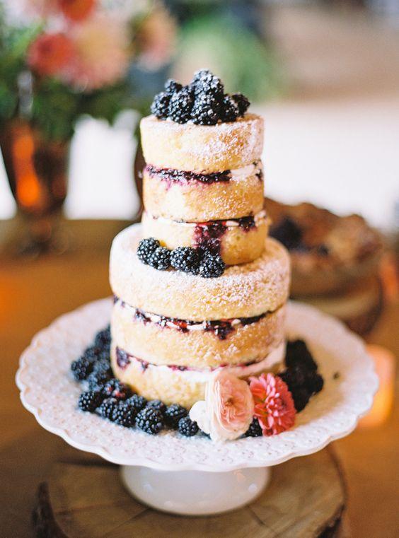 Naked berry topped cake: http://www.stylemepretty.com/2016/04/05/orgeon-barn-wedding-with-custom-prada-dress/ | Photography: Marina Koslow - http://marinakoslowphotography.com/