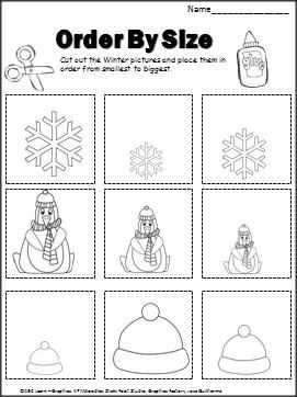 Winter Order By Size Activity (cut and paste) with recording sheet ...