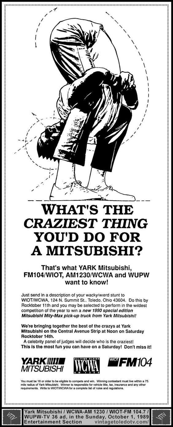Vintage Toledo TV - Other Vintage Print Ads - Yark Mitsubushi Contest...WCWA-AM / WIOT-FM / WUPW-TV (Sun 10/1/89 ad)