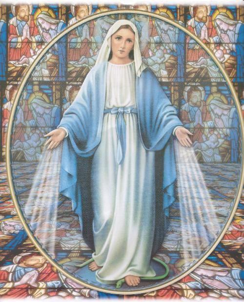 Art Print on Silk  Virgin Mary in blue robe by THEwhimsicalPEACOCK. , via Etsy.