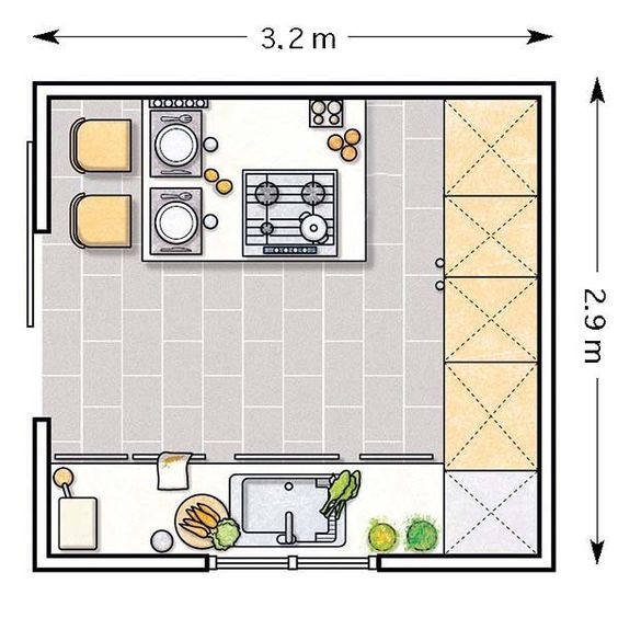 Doce cocinas con barra y sus planos - Cocinas en forma de u pequenas ...
