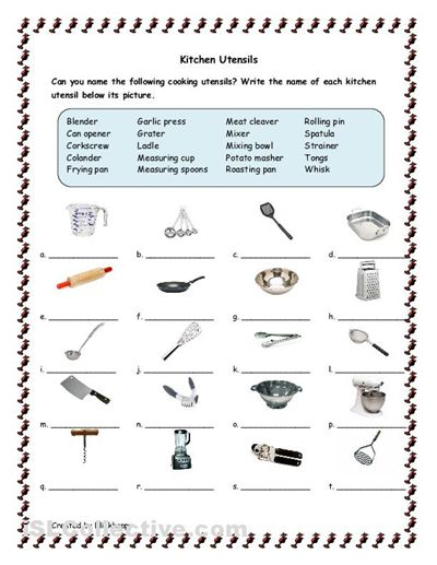 Aldiablosus  Outstanding Free Items Recipies And Culinary Arts On Pinterest With Handsome Kitchen Tools And Utensils For Classroom  Kitchen Utensils Worksheet  Free Esl Printable Worksheets Made With Enchanting Worksheet For Comparative And Superlative Adjectives Also Child Support Worksheet Ohio In Addition Present Subjunctive Worksheet And Counting Principle Worksheet With Answers As Well As Moles Molecules And Grams Worksheet Answer Key Additionally Parts Of The Body Worksheet From Pinterestcom With Aldiablosus  Handsome Free Items Recipies And Culinary Arts On Pinterest With Enchanting Kitchen Tools And Utensils For Classroom  Kitchen Utensils Worksheet  Free Esl Printable Worksheets Made And Outstanding Worksheet For Comparative And Superlative Adjectives Also Child Support Worksheet Ohio In Addition Present Subjunctive Worksheet From Pinterestcom