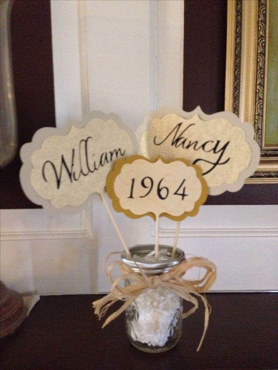 Table center pieces for parent 39 s 50th anniversary crafts for Decoration 50th wedding anniversary