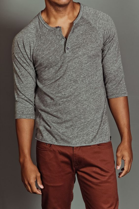 weekendcasual menswear grey three quarter sleeve