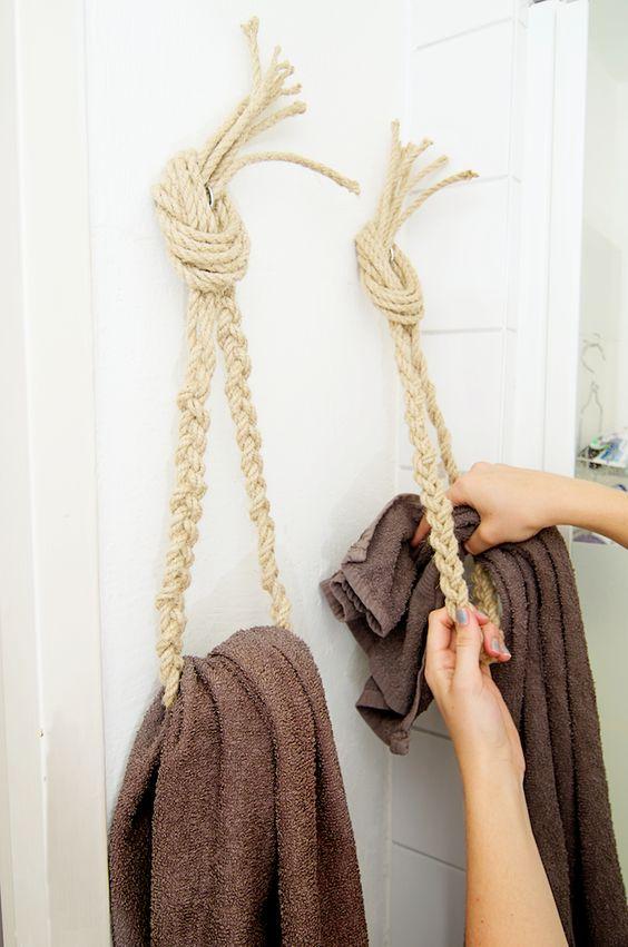 So genius! DIY ropes for towels!