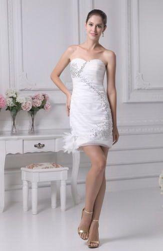 Sweetheart Organza Wedding Gowns - Order Link: http://www.thebridalgowns.com/sweetheart-organza-wedding-gowns-tbg2304 - SILHOUETTE: Sheath/Column; SLEEVE: Sleeveless; LENGTH: Short; FABRIC: Organza; EMBELLISHMENTS: Rhinestone , Ruching , Flower - Price: 99.99USD