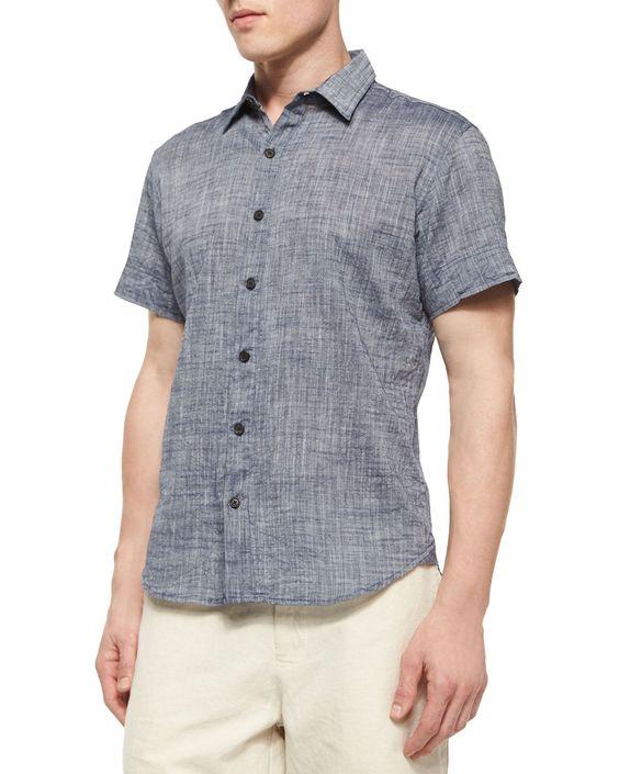Donelson Short-Sleeve Linen Shirt, Light Blue