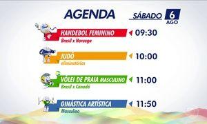 Veja quais são os destaques da programação olímpica do sábado (6)
