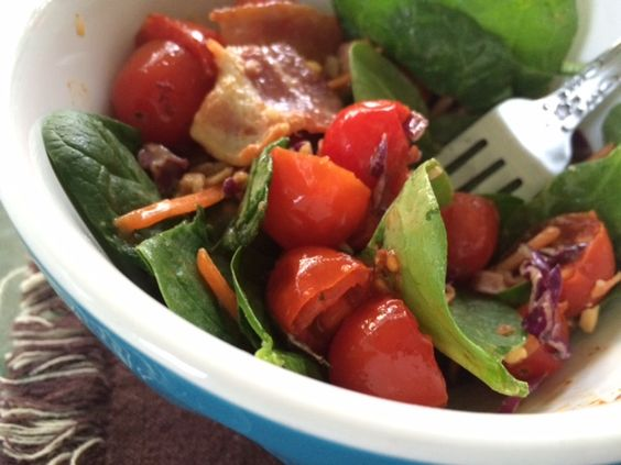 Squirrel Head Manor: Baby Spinach Salad with Crispy Bacon and Cherry To...