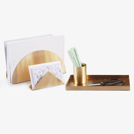 Gild your desk in high style with this Brass Desk Set by Danish designer Trine Anderson.:
