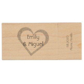 Wooden Chalkboard Heart Wedding USB Photo Storage Wood Flash Drive