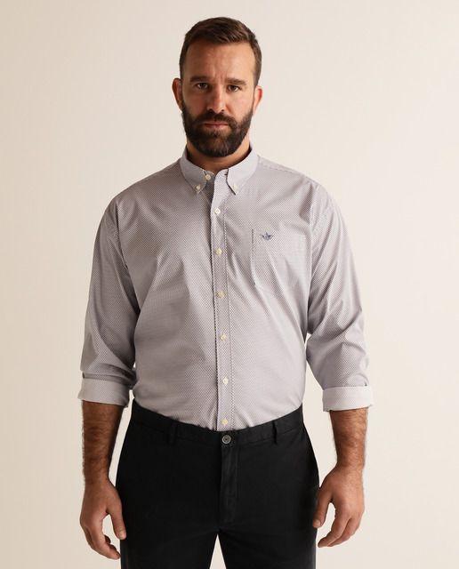Camisa De Hombre Regular Estampada Azul Tallas Grandes En 2020 Camisas Camisas Hombre Y Hombres