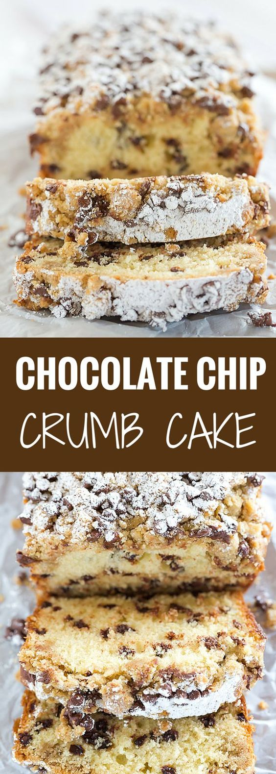 Chocolate Chip Crumb Cake Loaf Recipe via Brown Eyed Baker - This chocolate chip crumb cake is unbelievably tender, loaded with chocolate chips and topped with the most amazing crumb topping! #dessertbreads #neighborgifts #homemadegifts #foodgifts #breadrecipes #flavoredbreads #sweetbreads #holidaybread #bread #homemadebread #simplebreadrecipes #simplebread #simplerecipes