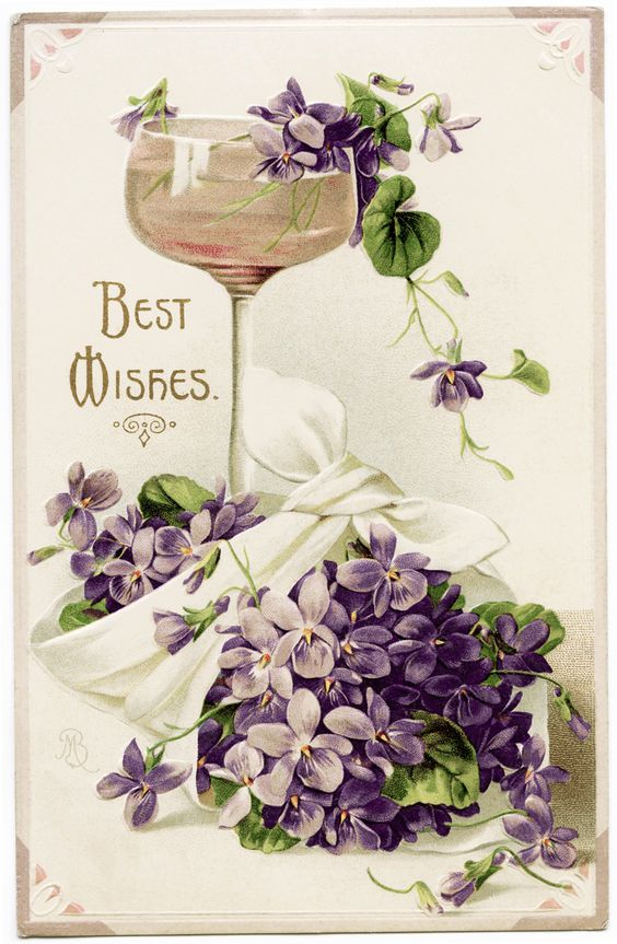 Old Design Shop ~ free digital image: violets, wine and best wishes vintage postcard: