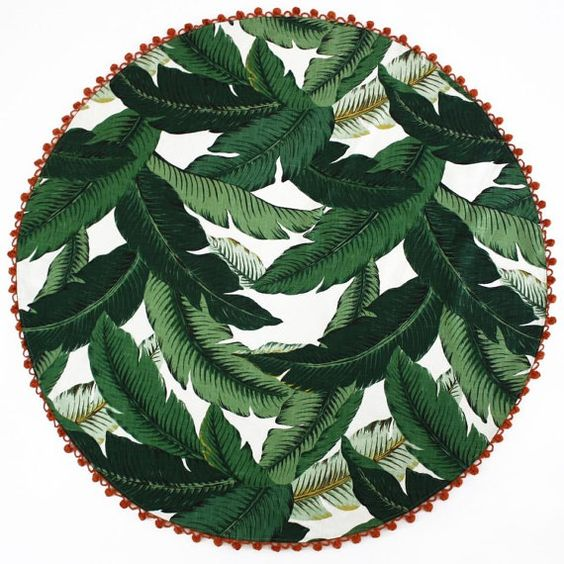 BEACH BLANKET ROUNDIE  | Round Beach Blanket Throw  | Martinique Beverly Hills Tropical  Banana Leaf Fabric | Durable Sand Resistant: