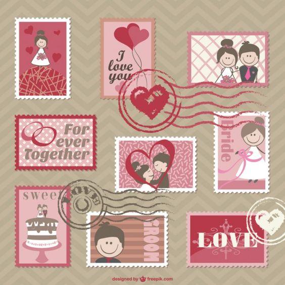 Cartões de casamento vetor dos desenhos animados Vetor grátis
