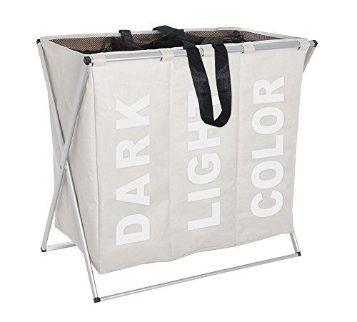 Folding Laundry Washing Basket Bag 3 Section Foldable Fabric
