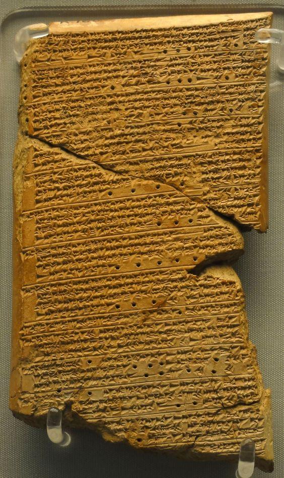 Parte superior de una tablilla de arcilla, faltan el principio del anverso y el final del reverso
