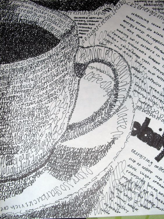 Coffee cup.  Pen  Ink.  Made up of all words. Wow!!!