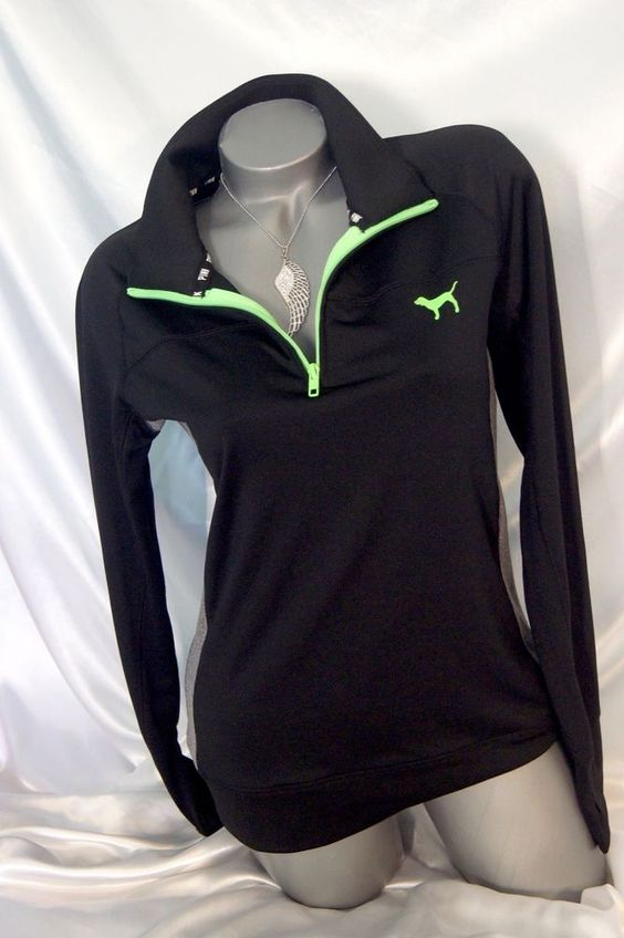 MEDIUM~ VICTORIA SECRET PINK HALF ZIP ULTIMATE SWEATSHIRT YOGA ...