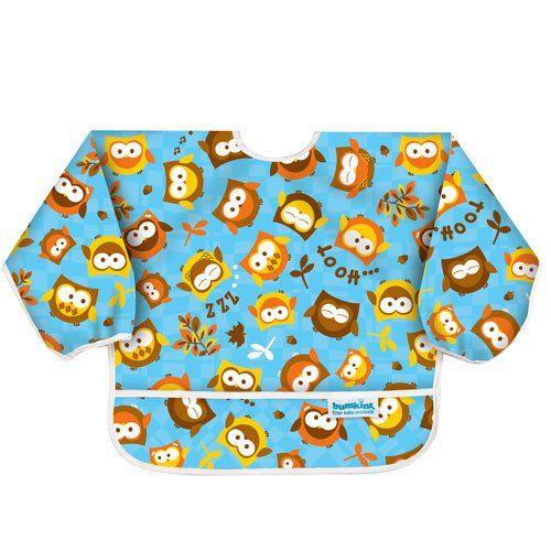 Bumkins Waterproof Sleeved Bib, 6 months to 2 years, Blue Owl $14.59