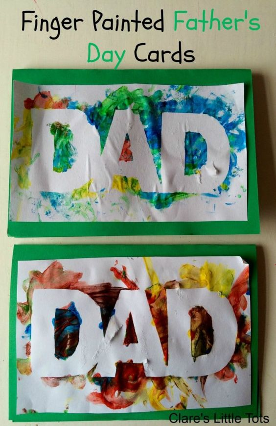 Easy and fun finger painted Father's Day card that babies, toddlers and preschoolers can make.: