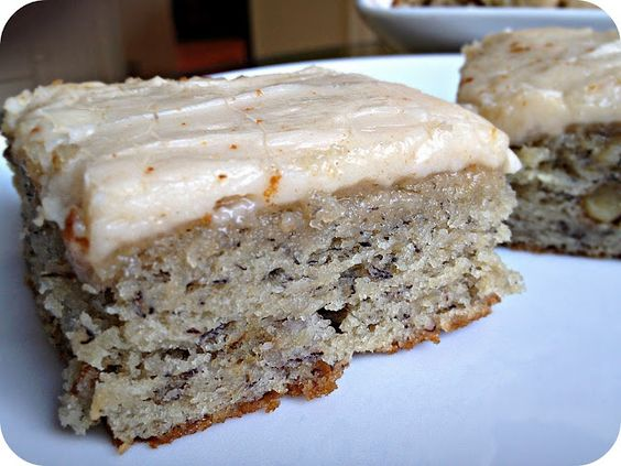 Banana Bread Bars with Brown Butter Frosting - This was so delicious that every one who has eaten asked for the recipe. It is much sweeter than actual banana bread because of the frosting, but the texture of the bars is perfection.