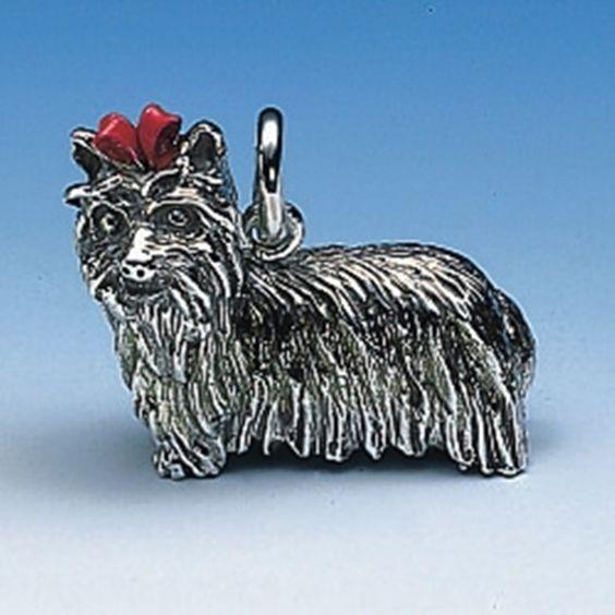 Anhänger Yorkshire-Terrier gross mit roter Schleife
