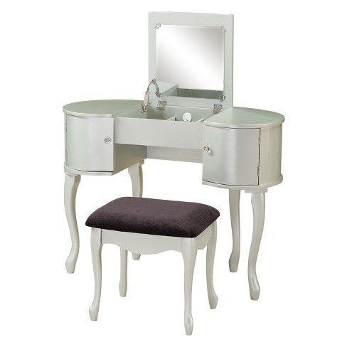 Paloma Vanity Set Silver Linon Home Decor Target Bedroom Makeup Vanity Linon Home Decor Wooden Vanity