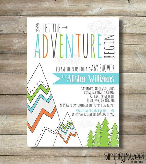 Nature Themed Baby Shower: Adventure Baby Shower Invite Invitation Boy Mountain Trees