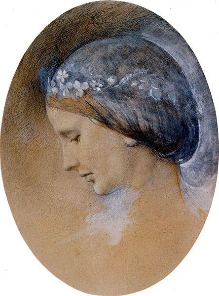 Portrait of Rose La Touche - Ruskin John Date: 1862 Style: Romanticism Genre: portrait